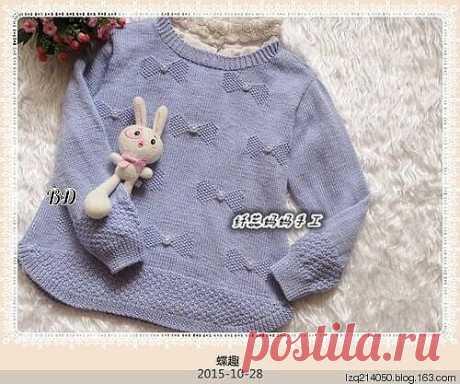 Пуловер с бантиками. схема узора