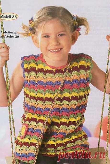 Модели для девочек на лето без рукава, крючком.