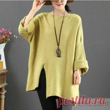 Aesthetic light green clothes For Women asymmetric hem oversize side open knit tops