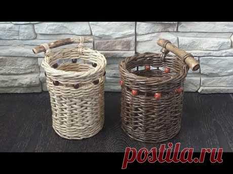 Стакан для кухни. Японское послойное плетение из газетных трубочек