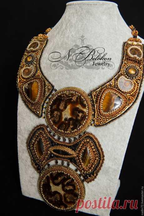 Купить Массивное колье - черный, бронзовый, украшения ручной работы, украшение, украшение на шею, колье