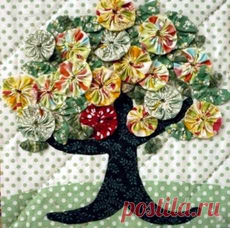 Цветы из ткани «йо-йо». Идеи и МК из интернета.