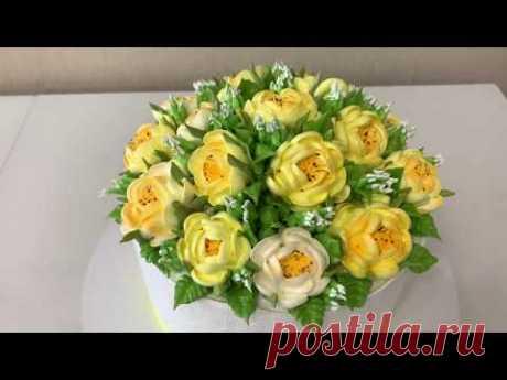 Как красиво украсить торт цветами! Цветы из БЗК! Красивый торт! Cake Decorating Ideas!