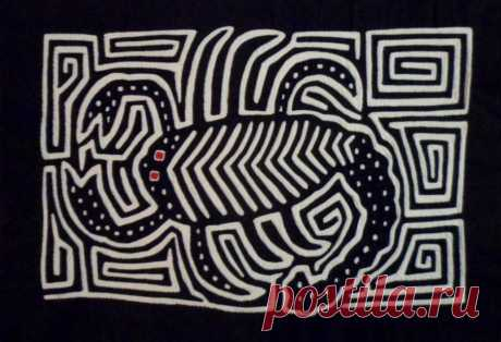 Kuna Indian Hand-Stitched Black & White Scorpion Insect Mola-Panama 18060802L | eBay