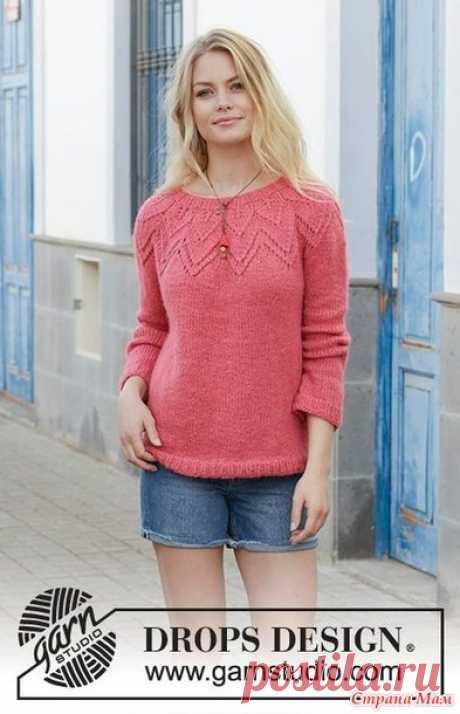 """Пуловер с круглой кокеткой """"Aftensol"""" от Drops design - Вязание - Страна Мам"""