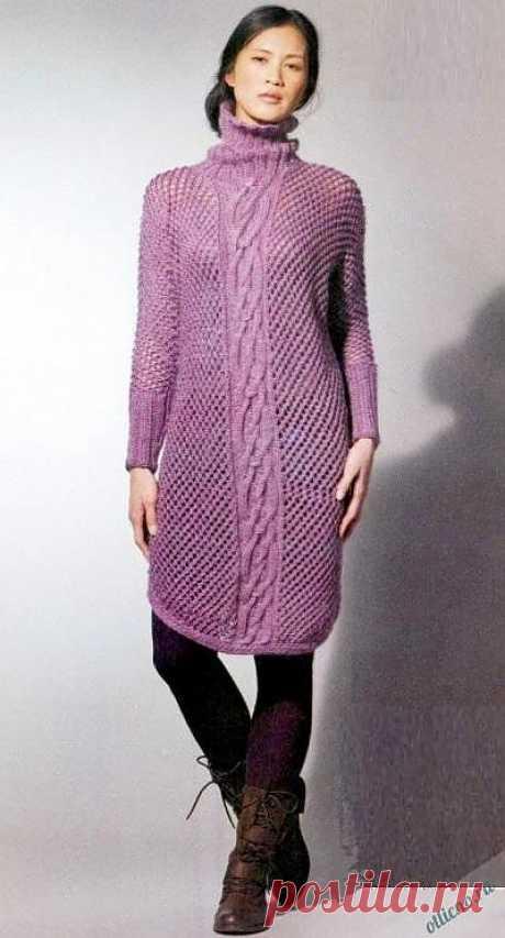 Вязаное платье-свитер в сеточку спицами | Отлично! Школа моды, декора и актуального рукоделия