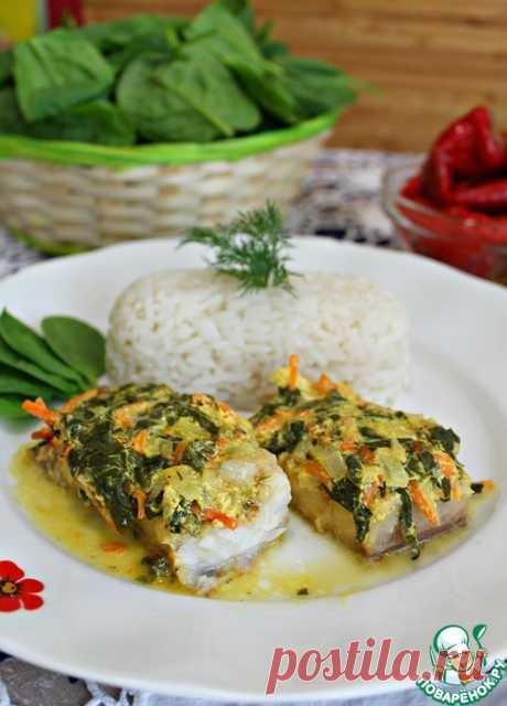 Рыба под пикантной шубой с рисом - кулинарный рецепт