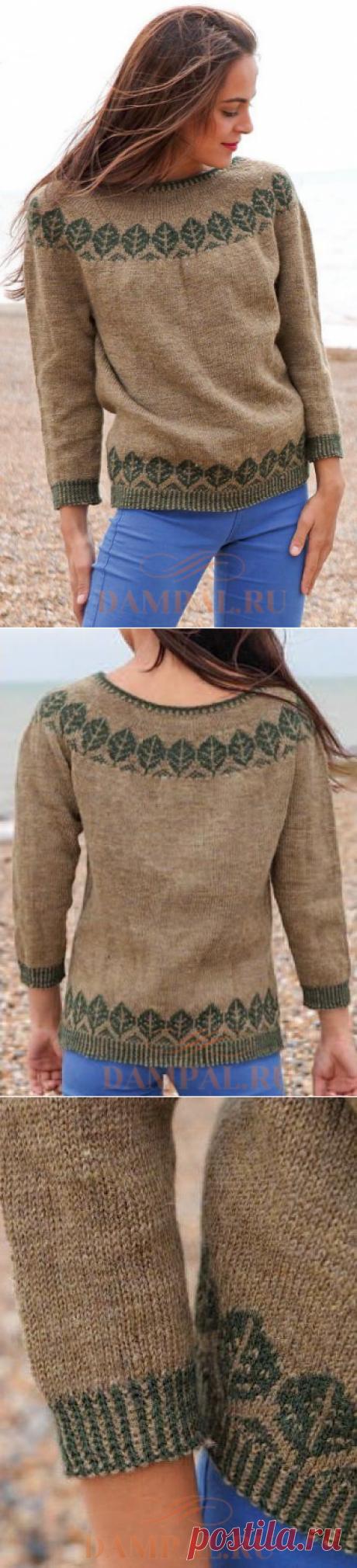 Пуловер с круглой кокеткой «Trees»   DAMские PALьчики. ru