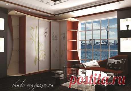 Угловой шкаф с фотопечатью иероглифы в спальню: фото, заказ, доставка, замер, заказ