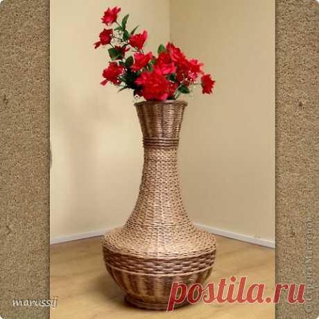 Напольная ваза из газетных трубочек - мастер класс с пошаговым фото
