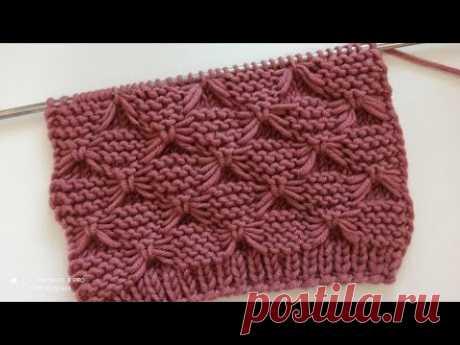 """Простой узор спицами """"Бантики"""" для вязания пледов, свитеров, кардиганов и детских вещей."""