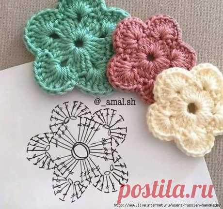 Схемы вязания простых цветочков