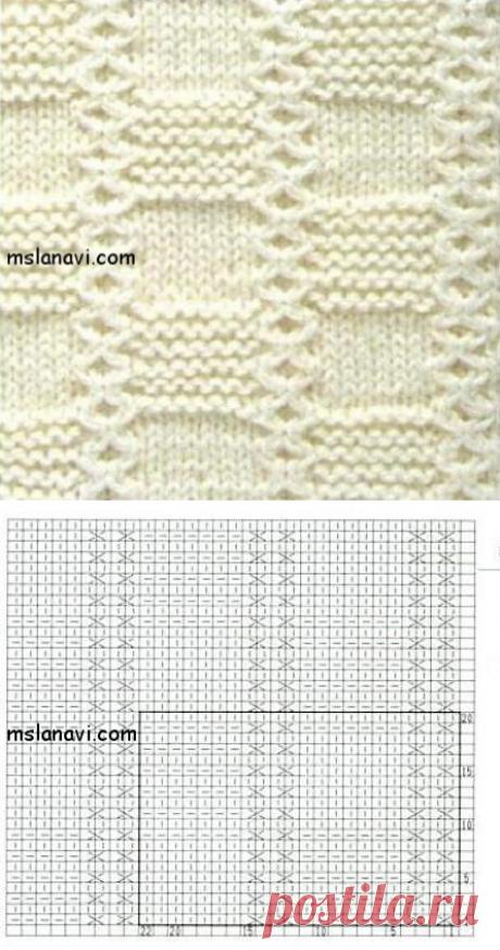 Рельефный узор спицами №41 | Вяжем с Лана Ви