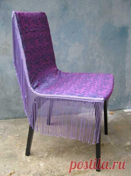 Почти гламурный стульчик :) Замена старой (очень драной, рыжей)обивки+покраска