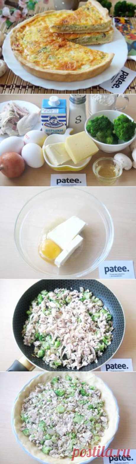 Пирог с курицей, грибами и брокколи - рецепт с фотографиями