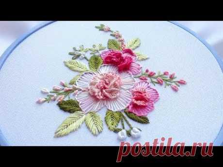 Flower embroidery: flower stitch | Цветочная вышивка|Bordado de flores