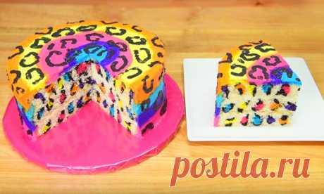 Рецепт радужно-леопардового торта