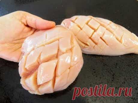 Надрезаем, маринуем, запекаем / Очень сочная куриная грудка / Рецепты Другой Кухни