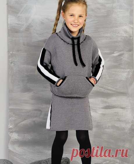 Костюм в спортивном стиле для девочки - схема вязания спицами. Вяжем Комплекты на Verena.ru
