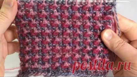 Трехцветная мозаика / Вязание спицами
