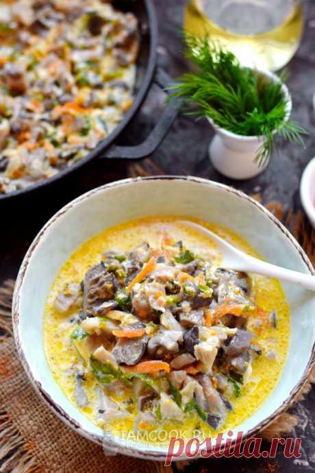 Вешенки с овощами и зеленью в сметане — рецепт с фото пошагово