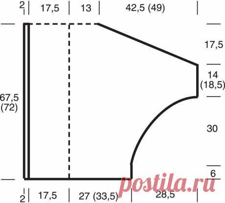Кардиган оверсайз с цельновязаными рукавами - схема вязания спицами. Вяжем Кардиганы на Verena.ru