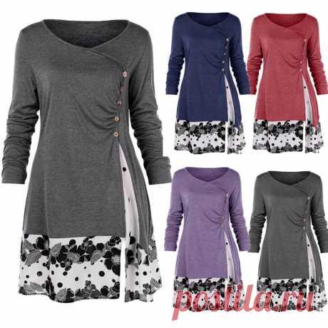 Драпированная длинная туника размера плюс L 5XL с цветочным рисунком, рубашки с длинным рукавом и круглым вырезом, украшенные пуговицами, женская блузка, весенние повседневные топы, футболки | Блузки и рубашки