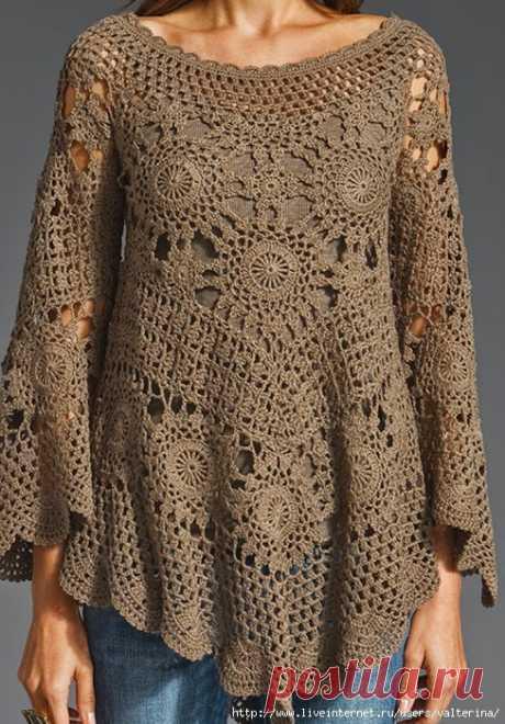 Irish crochet y: la túnica muy impresionante por los motivos