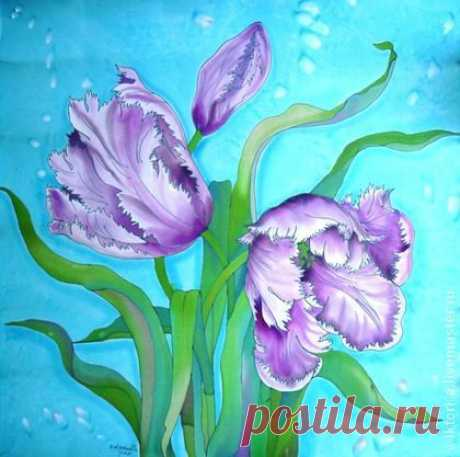 "Платок , батик""Бирюзовая весна"" атлас, натуральный шёлк , 67-67см. - бирюзовый"
