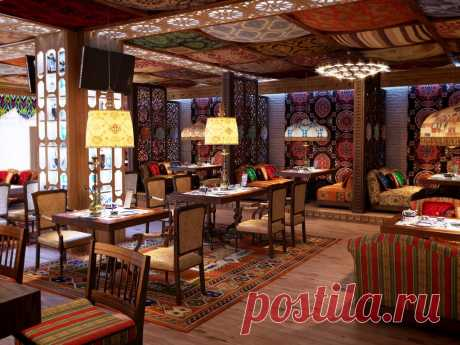 Шторы и текстиль в интерьере ресторана