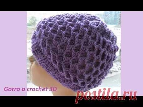 Gorro a crochet 3D Gorros №86