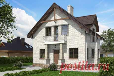 Одноэтажный жилой дом с мансардой, террасой и балконами Rg5548