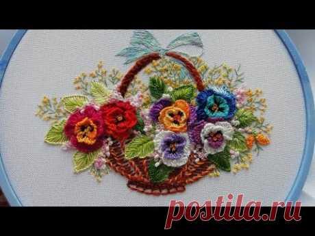 Flower embroidery : Pansies | Цветочная вышивка: Анютины глазки