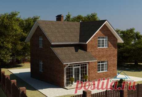 Проект одноэтажного дома с террасой и мансардой 02-49   СтройДизайн