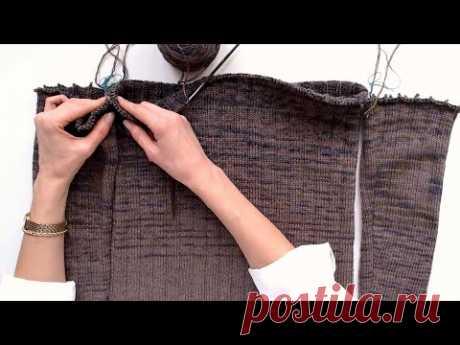 СВИТЕР СПИЦАМИ присоединяю рукава | ПОДРЕЗЫ при вязании СНИЗУ