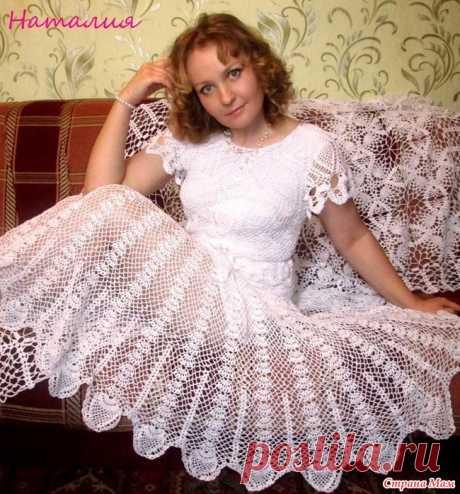 Ажурное летнее платье Дорогие рукодельницы! Летнее ажурное платье связано из пряжи Пеликан витта. Крючок № 1.5 Схемы всем известные и доступные. Кокетку вязала по этой схеме,немного изменив.