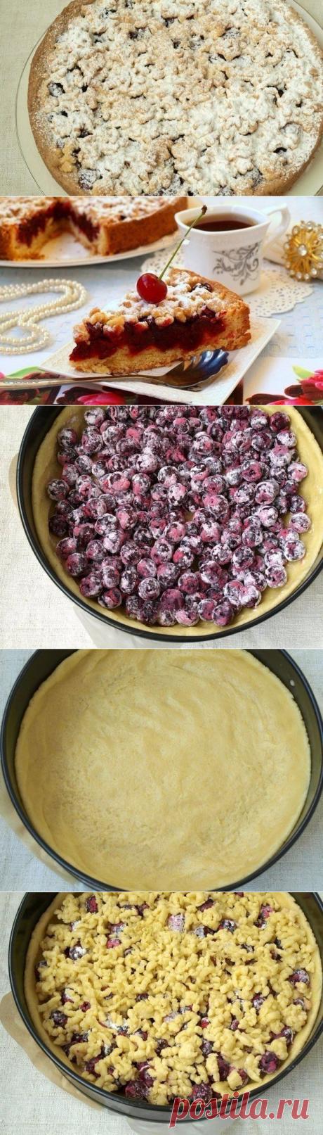 Для домашнего чаепития: песочный пирог с вишней — Едим дома