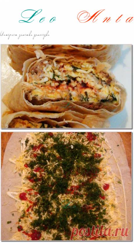 Рыбный рулет из лаваша. Рецепт с фото.  Очень вкусная оригинальная закуска удивит любого!!