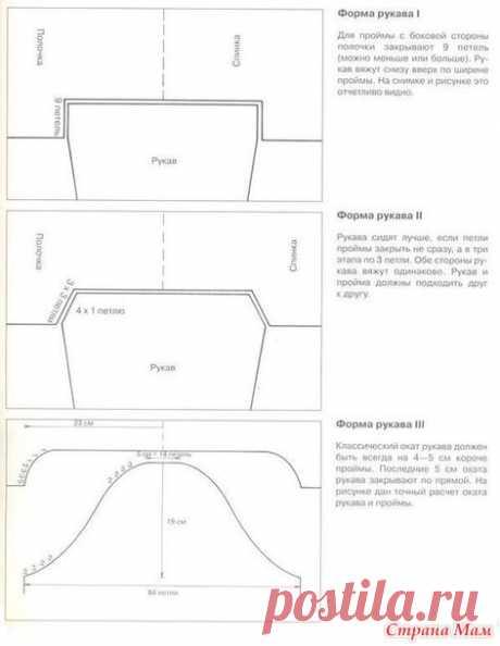 Модели рукавов и соединение с проймой - Вязание - Страна Мам