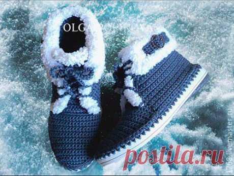 Купить Ботинки (осень-зима) - тёмно-синий, ботиночки, Для улицы, для дома, подарок
