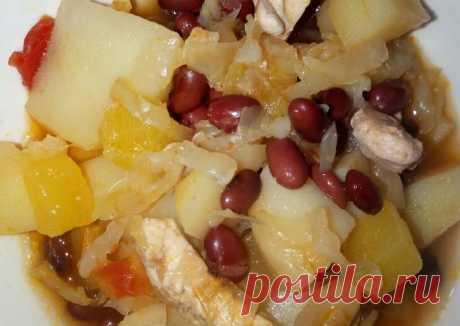 (3) Овощное рагу с курицей и фасолью - пошаговый рецепт с фото. Автор рецепта Татьяна В . - Cookpad