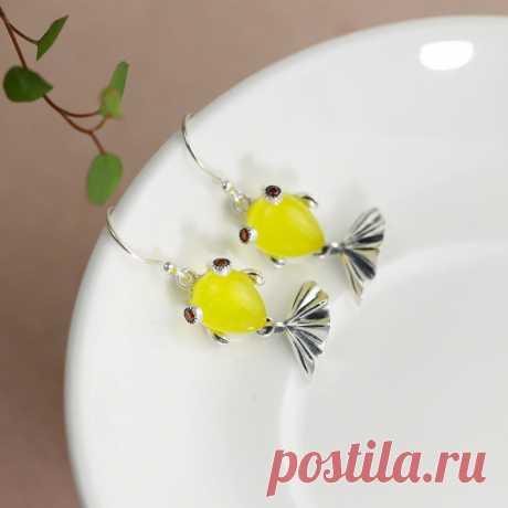 Goldfish earrings-Natural Red Steel Jade Goldfish Earrings-925 | Etsy