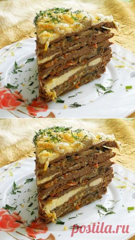 Печеночный торт с грибами - рецепты с фото