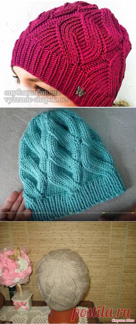 Женская шапка спицами с узором Ложная Коса | Вязание Шапок - Модные и Новые Модели