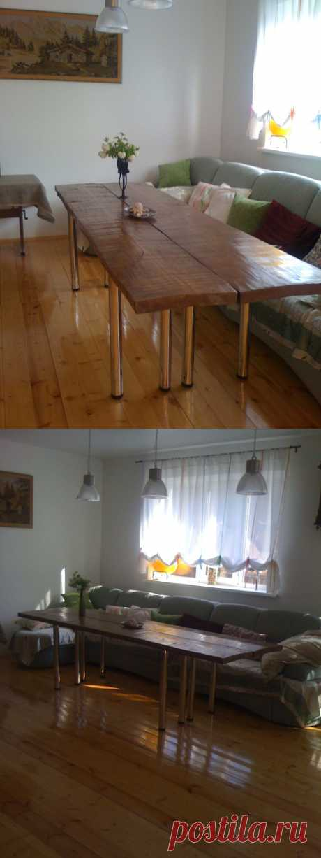 Brutal guest table.\u000d\u000a\u000d\u000aThe table consists of two wooden executioner's blocks. Executioner's blocks remained with the father-in-law from construction of the house. To them years 50. I oshkurit them, covered with wood stain, varnished. Oshkurila after the first covering also covered with again glossy yacht varnish. The table consists of two independent console tables. Put by a row form a dining table on 14 people.