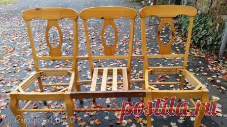 Новая скамейка для дачи из старых стульев   6 соток