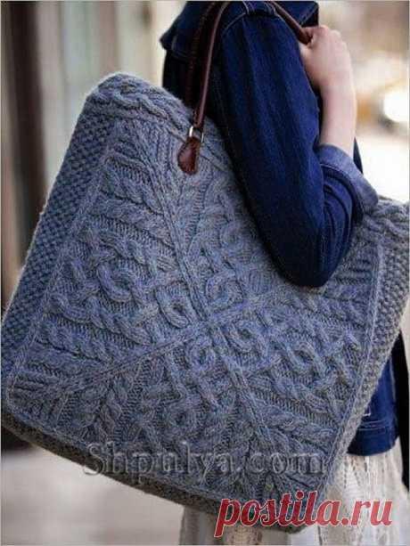 Вязаная сумка для прогулок, вязаная спицами — Shpulya.com - схемы с описанием для вязания спицами и крючком