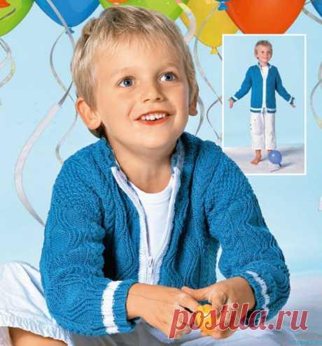 Жакет на молнии для мальчика,размер 110/116 (122/128) 134/140.