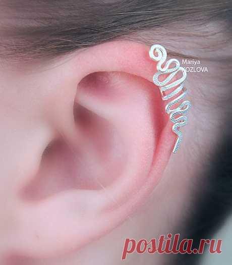 "Кафф ear cuff ""Змейка Upper"" - серебрение"