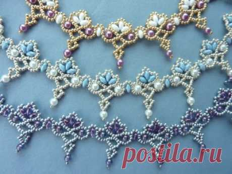FREE beading pattern for necklace Twin Floret Lace   BeadDiagrams.com